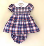 BABY GIRLS SMOCKED DRESS BLUE RED WHITE CHECK
